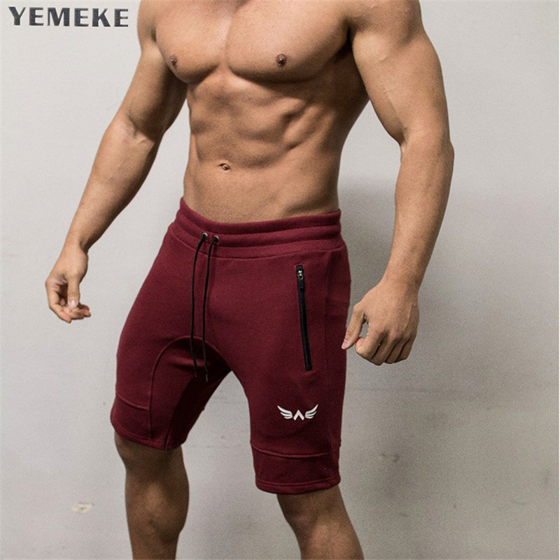 YEMEKE Men's Bodybuilding Shorts Fitness Workout 5 Color Bottom Cotton Male Fashion Casual Short Pants Brand Clothing