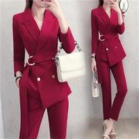 Fashion red suit suit female British style New autumn High end ladies fashion temperament two piece suit women