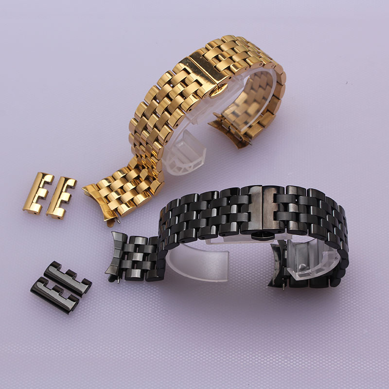 16mm 18mm 20mm 22mm 24mm stainless steel metal watchband straps black gold fashion watch bracelets accessories for men women hot loose stainless steel silver shark mesh watchband bracelets special end safety buckle 18mm 20mm 22mm 24mm promotion men s straps