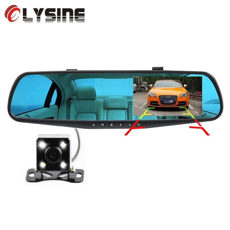 Olysine 4.3 ''Видеорегистраторы для автомобилей Зеркало заднего вида с 2 камеры регистраторы 1080 P авто видео регистратор Регистраторы два объектива dashcam черный ящик