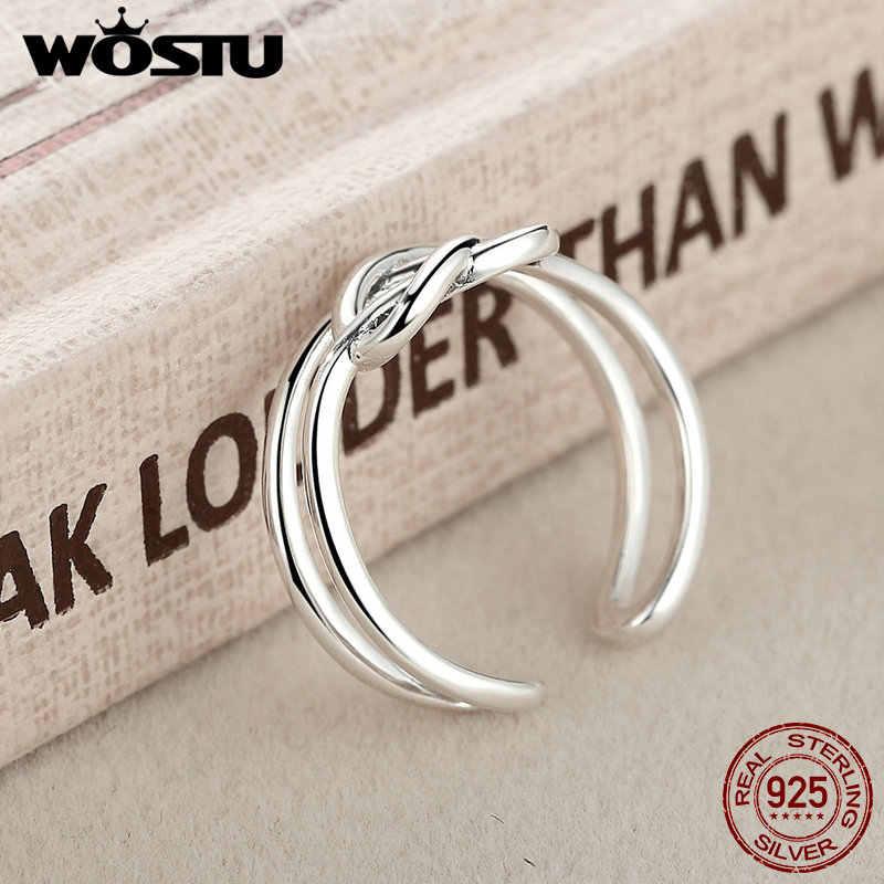 ขายส่งจริง 925 เงินสเตอร์ลิง Intertwined Heart เปิดแหวนนิ้วมือสำหรับผู้หญิงผู้ชายแหวนของขวัญเครื่องประดับ Fine Fine CSR034
