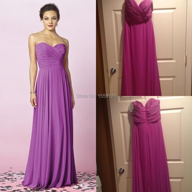 2017 Real Image Fast Delivery Pretty Purple Long Bridesmaid Dress ...
