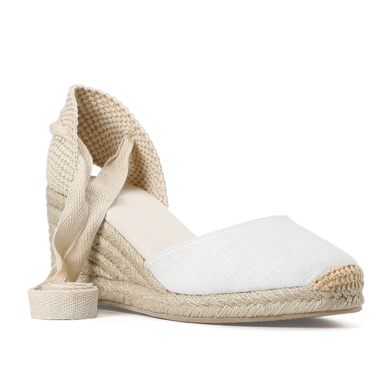 New 0-3cm Tienda Soludos Womens Wedge Sandals Ankle Strap Cap Toe Espadrille Sandal Concise Cotton Fabric {sandals} Women
