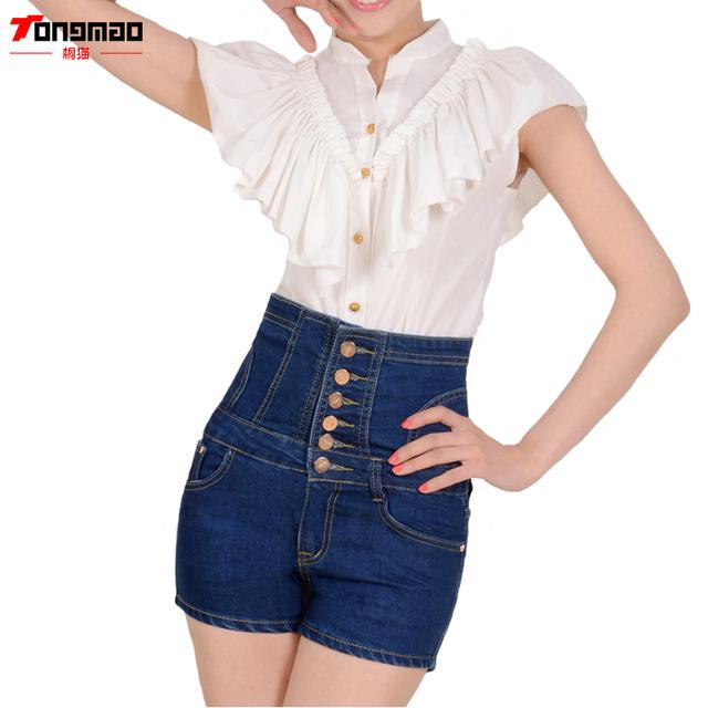 De Ocio de Moda de verano Pantalones Cortos de Mezclilla 2017 Nueva Gran Tamaño de Cintura Alta Pantalones Cortos de Mezclilla Skinny Jeans de Cintura Femenina Botón de Las Mujeres
