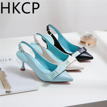 HKCP 2019 Korean bow cat with belt buckle high heel sandals for women summer thin pointed baotou shoes C233