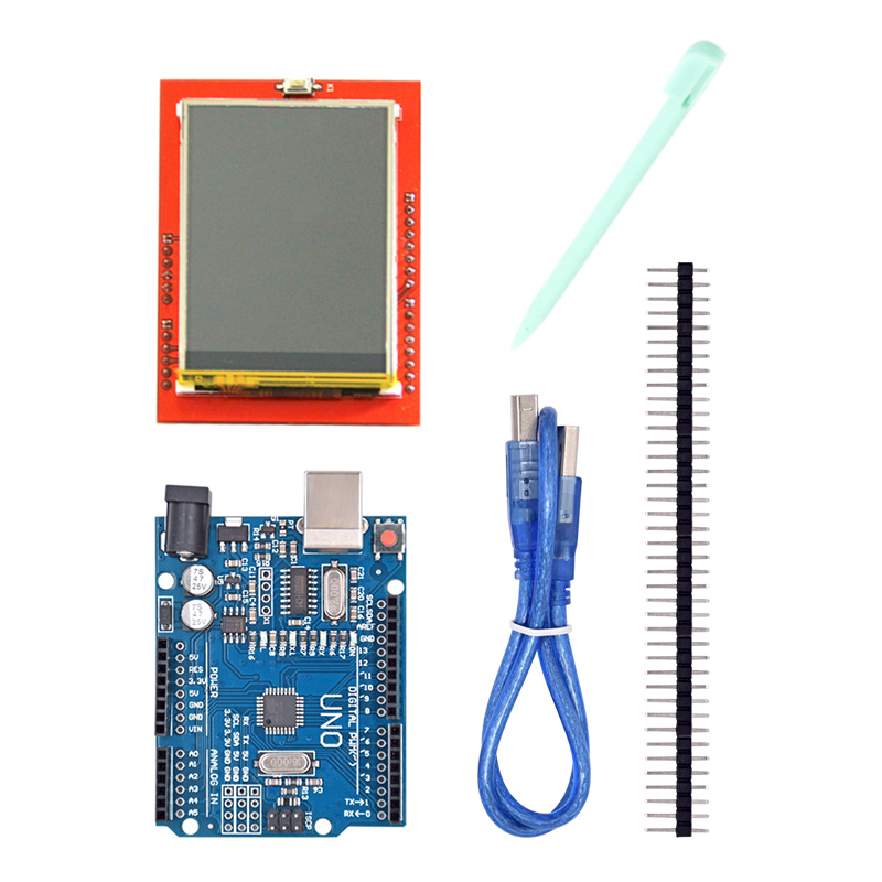 UNO R3 UNO R3 MEGA328P Development Board + 2.4 Inch TFT Touch LCD Screen Module Display Screen for DIY Starter Kit