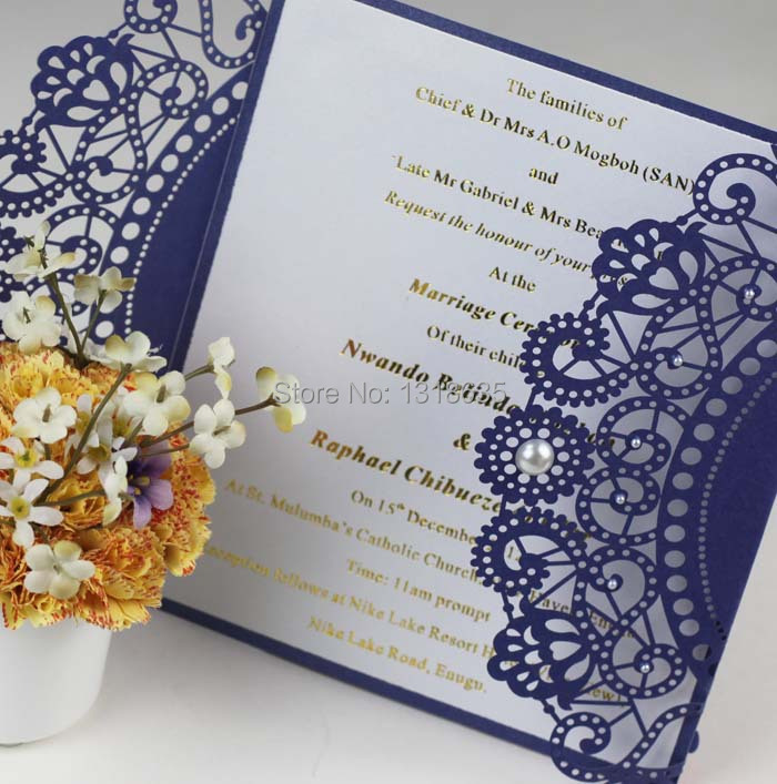 Handmade Luxurious Royal Blue Laser Cutting Wedding Invitation Card