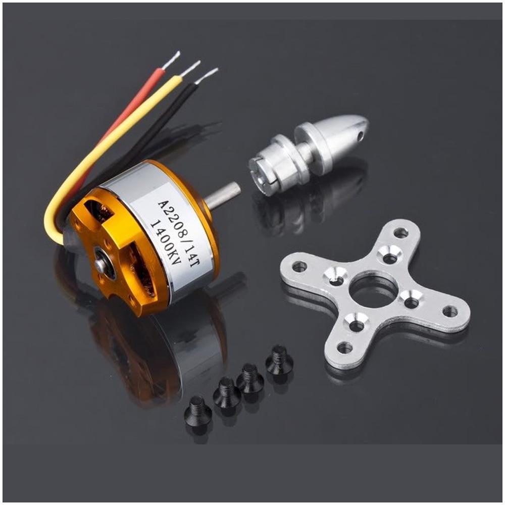 1 pièces moteur électrique cc sans balais A2208 KV1100 KV1400 KV2600 pour avions RC/bateau/véhicule modèle planeur avion Kit 1