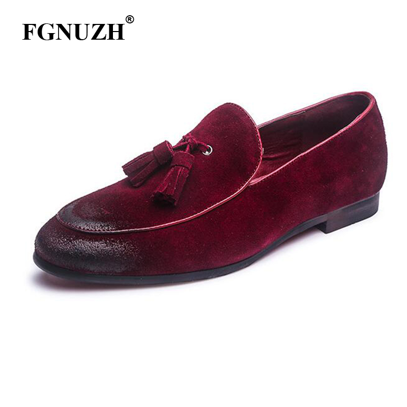 FGNUZH men loafers genuine leather shoes outdoor fashion driving shoes italian tassel moccasins men slip on flats shoes ST376(China)