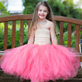 Real Photo Coral Girls Dreses with Cute Flower Casual Flower Kids Girl Tutu Dress For Photo Wedding Party Festival
