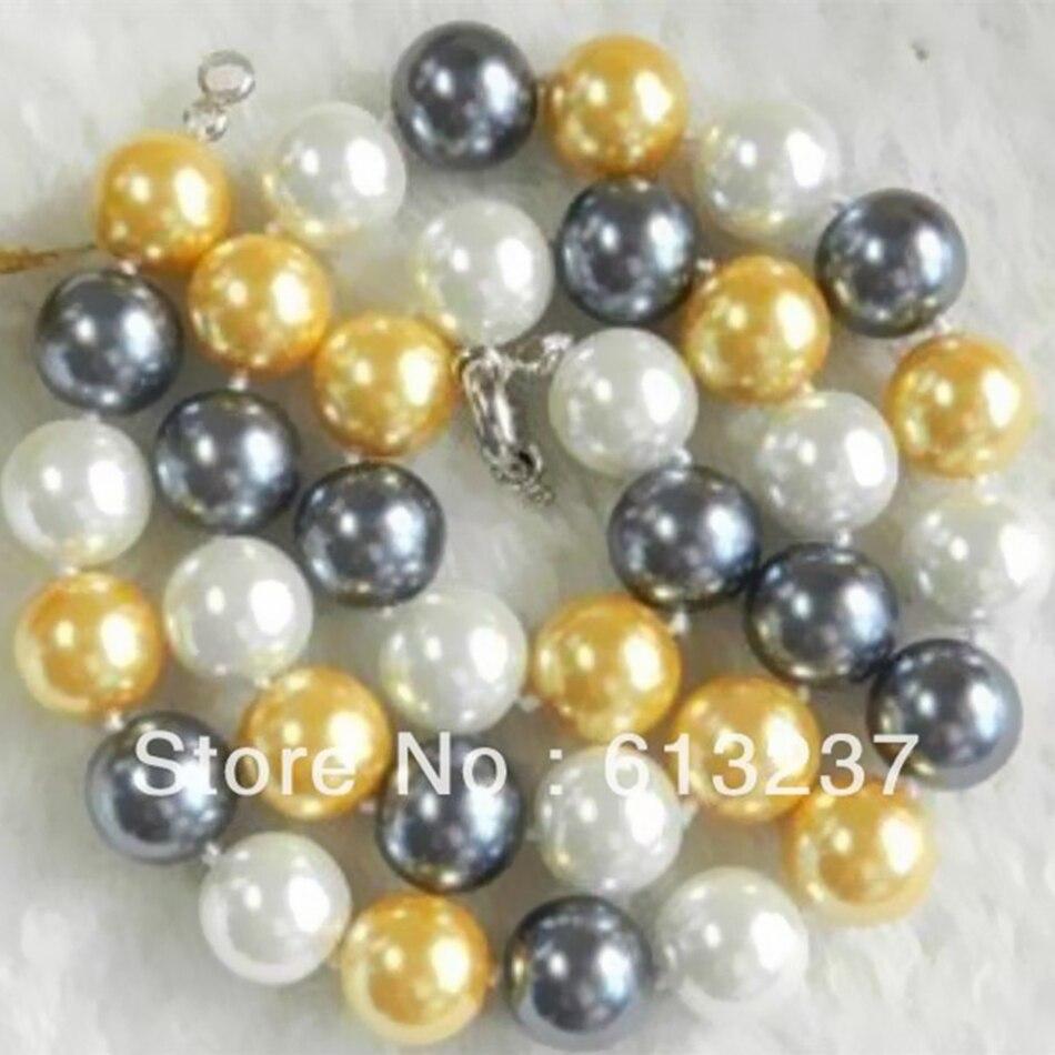 eabc7affc67f Charme 3 couleurs ronde shell simulé-perle multicolore 10mm perles  bricolage vente chaude collier bijoux faisant 18 pouce MY5259