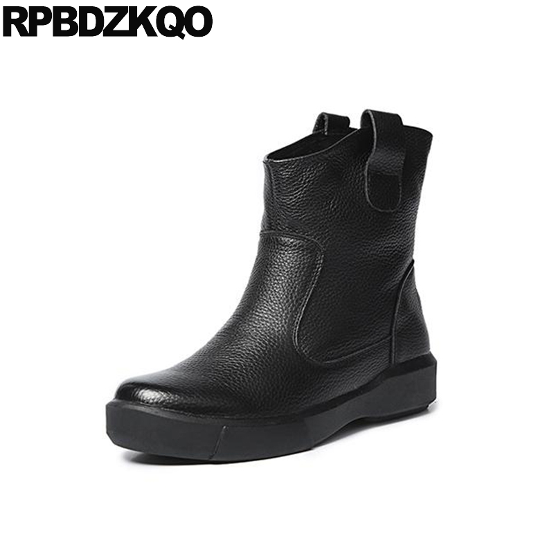Chinese Slip On Handmade Flat Black Genuine Leather Women Ankle Boots 2016 Round Toe Size 34 Shoes Wide Calf Short Retro Fall farvarwo formal retro buckle chelsea boots mens genuine leather flat round toe ankle slip on boot black kanye west winter shoes