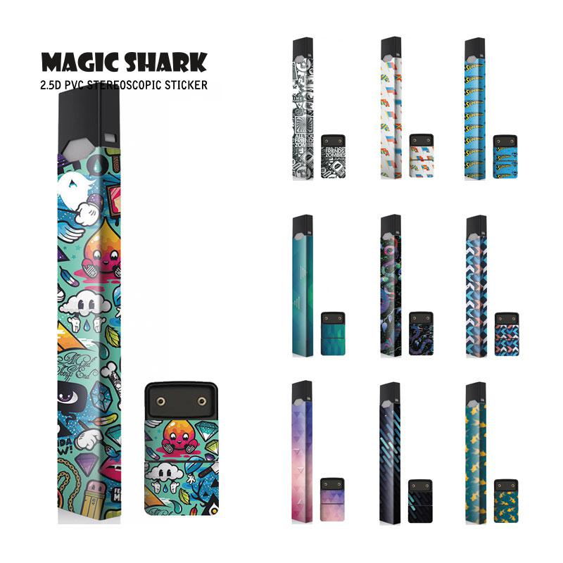 Magic Shark Ultra Thin Dream Cartoon Sticker For Juul Label Stereo Electronic Cigarette Film Sticker Skin For Juul Cover