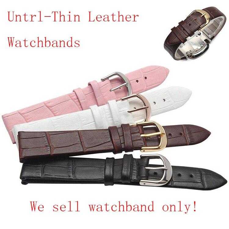 New Untrl-thin Watchband leather Black Brown Pink White waterproof Quartz watches Straps Accessories Men Women 12 14 16 18 20mm challenger alpina 16 white pink