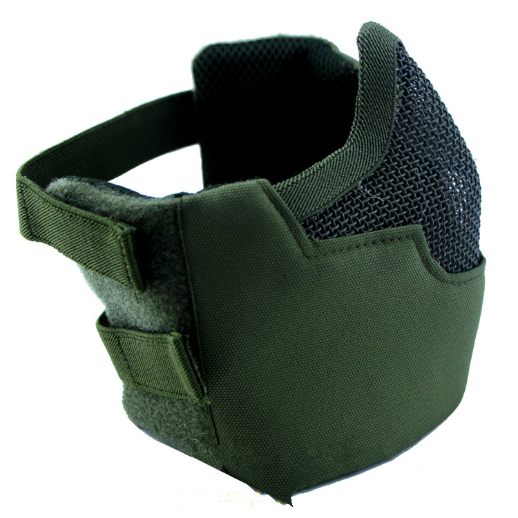 CS Gas Mask Field Mouthguard Strengthened Steel Mesh Half Face Protective Masks V8 Green Army Fans Equipment