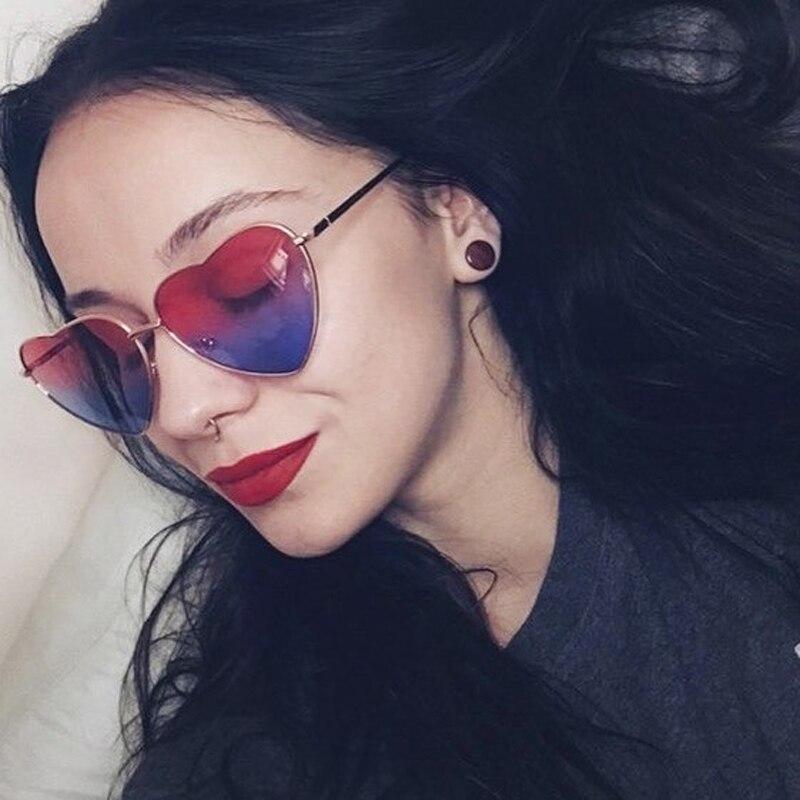 2018 New Fashion Love Heart Sunglasses Women Cute Sexy Retro Cat Eye Vintage Cheap Mirror Sun Glasses Red Female Small