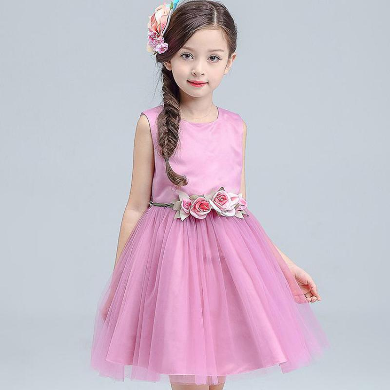 купить New Elegant Flower Girl Dresses For Weddings Sleeveless Princess Dress Girls Pageant Dresses Wedding Party Dress For Kids 13 14 дешево