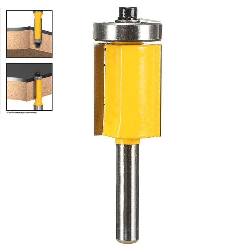 New 1PC 1/4 Shank Flush Trim Router Bit End Bearing 3/4 Woodworking Cutter for Milling Cutter Machine high grade carbide alloy 1 2 shank 2 1 4 dia bottom cleaning router bit woodworking milling cutter for mdf wood 55mm mayitr