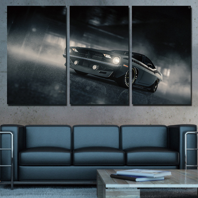 3 Pieces Plymouth Barracuda Poster HD Printed Canvas Painting Modular Wall Art Pictures Home Decor Living Room Car Poster Framed