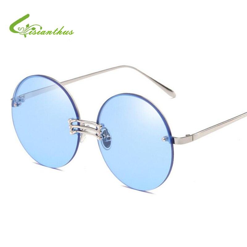 c12492f33 2019 Verão Rodada Óculos De Sol Das Mulheres Lente Espelho Óculos de Sol da  Cor Do