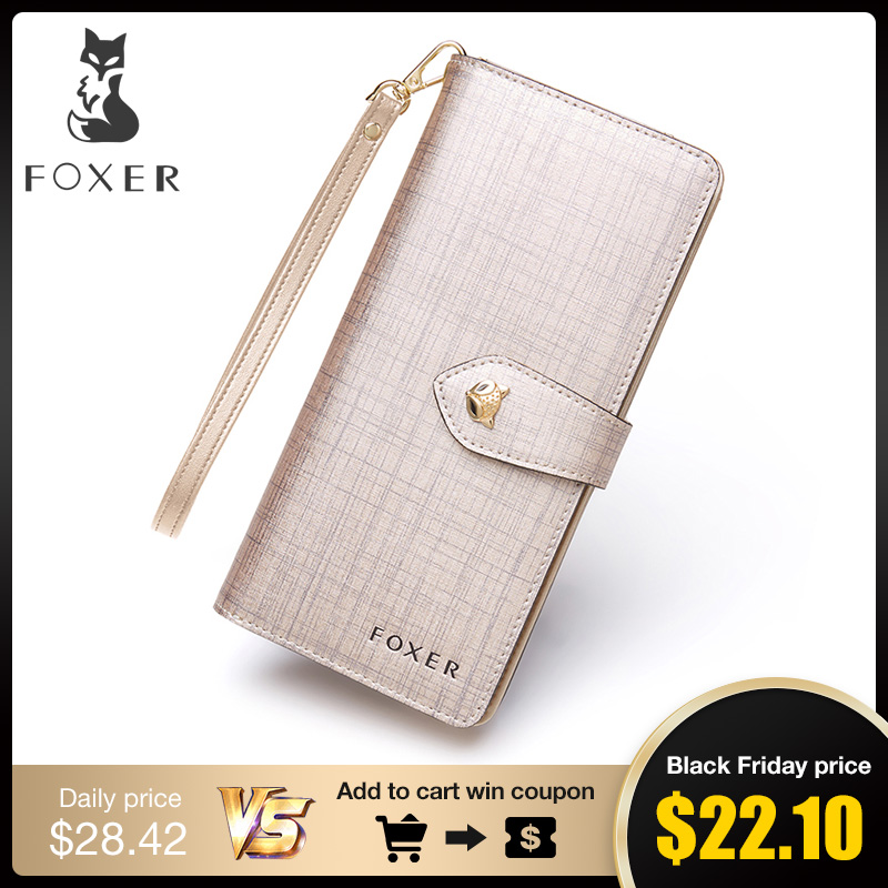 FOXER Women Leather Wallet with Wristlet Purses High Quality Long Wallet Women Wallet Zipper Girls' Clutch Valentine's Day gift