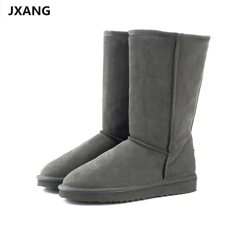 JXANG High Quality Fur Snow Boots Women Fashion Genuine Leather Australia Women's High Boot Winter Women Shoes large Size 95% new for air conditioning computer board circuit board kfr 120lw sy sa out check dybh v2 1 good working
