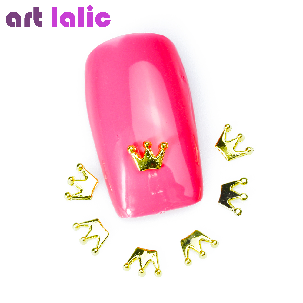Artlalic 10Pcs New Gold Metal CROWN Nail Art Decoration DIY Beauty Jewelry 3d Design Alloy Nail Accessories many different types of selection 3d metal alloy nail decoration nail jewelry diy studs gold plated nail art tips decal 10pcs