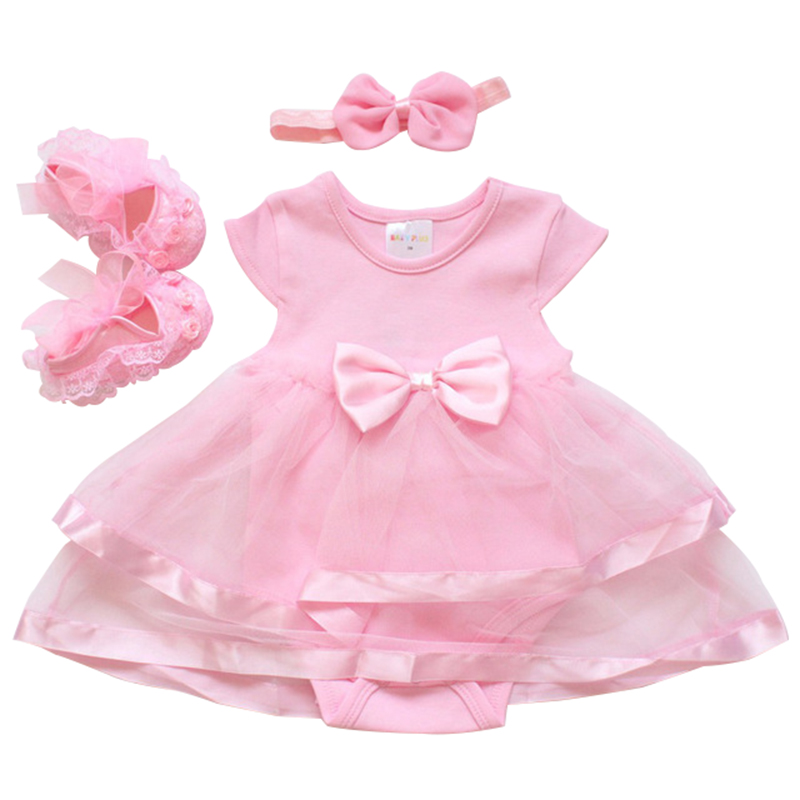 Summer Newborn Baby Cotton Bow Baby Rompers For Infant Clothes Baby Girls Jumpsuit Sunsuit Headband Shoes Clothes Set цена
