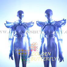 LDE Clothing Luminous Shawl Armor Nail Suits Glowing Light Costumes Women Ballroom Dance Dress Performance Dress Accessories