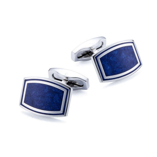 High Men's Cufflink Square Silver Plating Blue Painting Shirt Cuff Links Mens 168c
