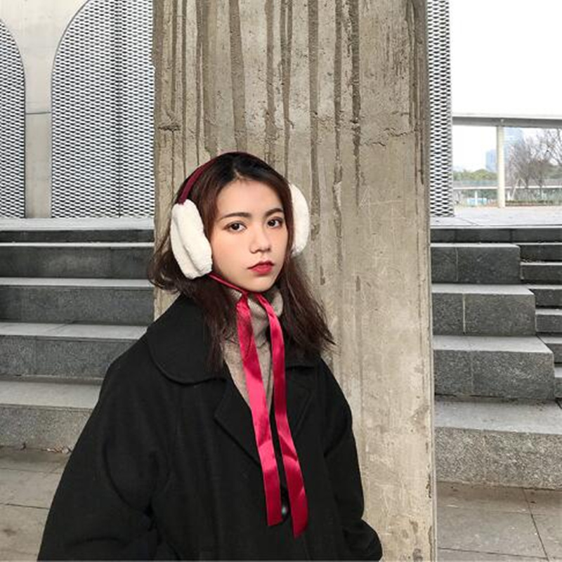2018 Hot Sale Women Fashion Warm Earmuffs Lady Girls Tie Bow ELK Winter Faux Fur Earmuffs  Christmas Gift