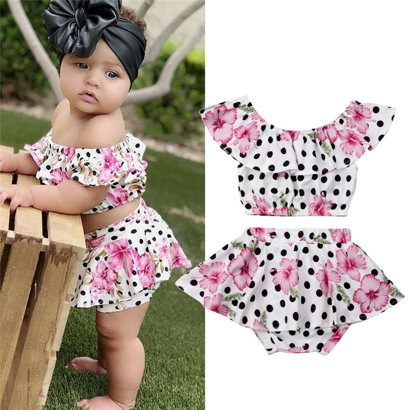 Baby Toddler Girls Off Shoulder Ruffle Sleeve Floral Print Top PU Leather Mini Skirt Set 2 Pieces Summer Clothes Sets