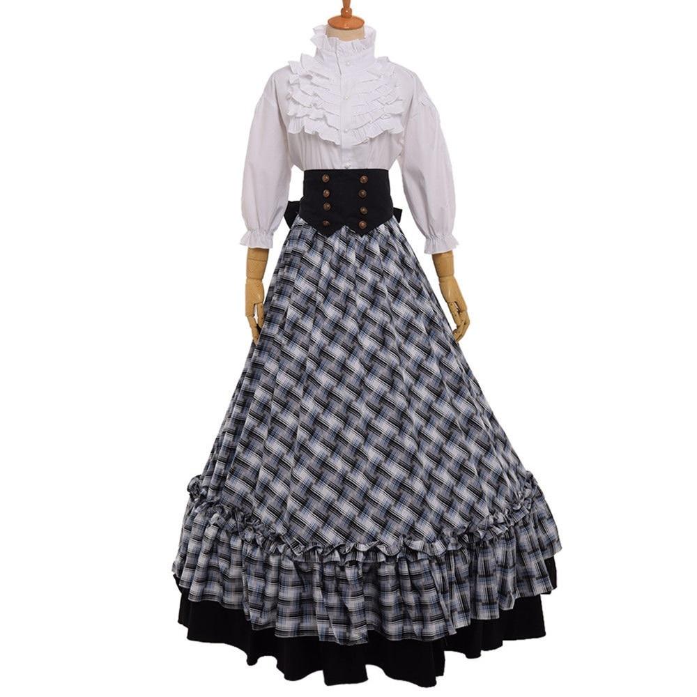 Retro Victorian Civil War Plaid Dress Reenactment Theater Lolita Corset Costume