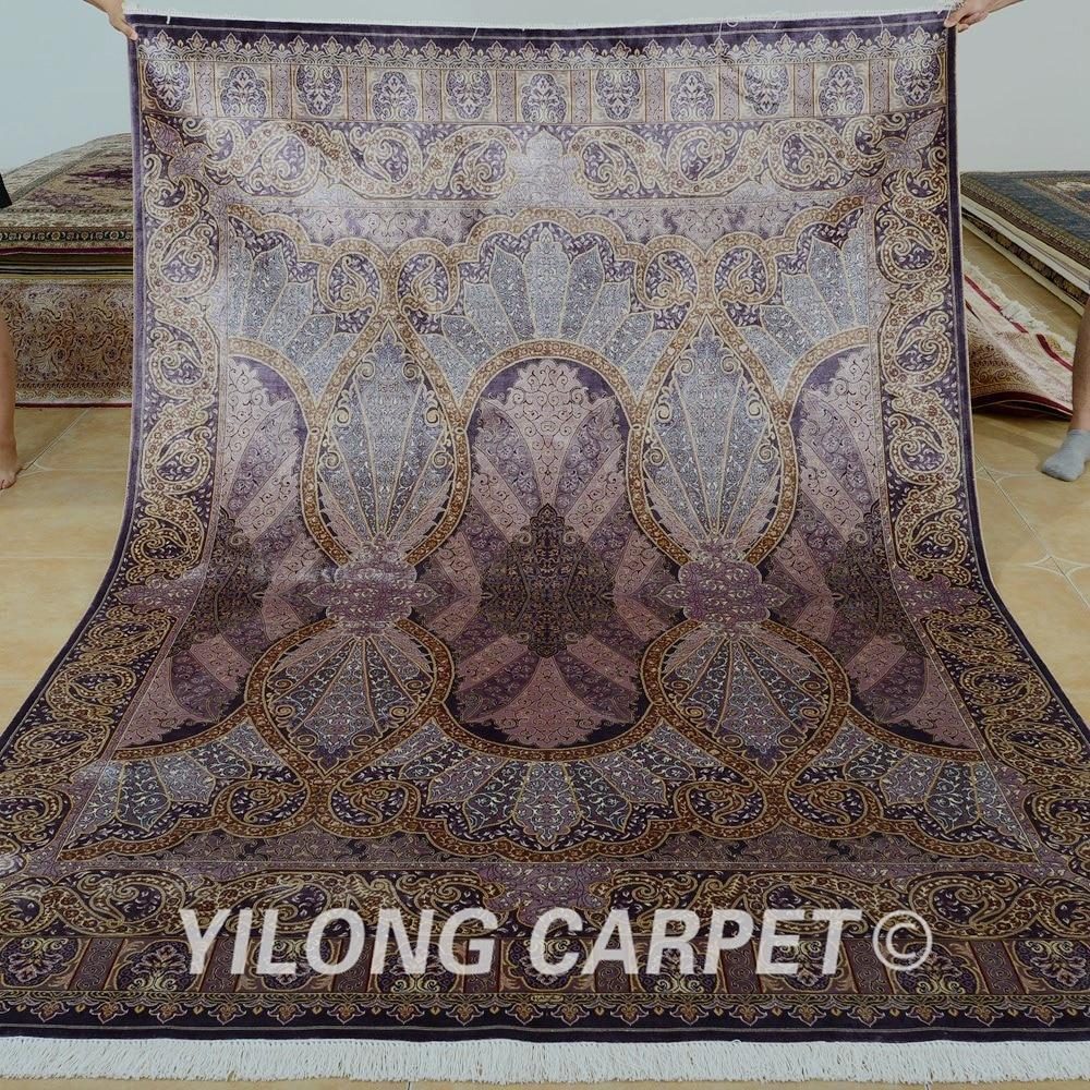 Yilong 6'x9' Vantage purple traditional handmade bedroom carpet persian silk rug (0737)