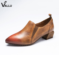 Shallow Pumps Lady Cow Leather Women' s High Heel Shoes Pointed Toe Chunky Heel Elastic Band Classic Female Dress Shoes
