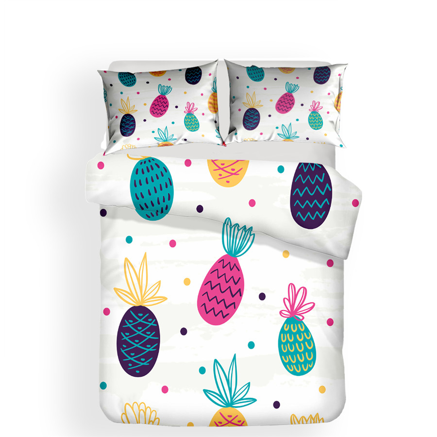 Image 2 - Bedding Set 3D Printed Duvet Cover Bed Set Pineapple Home Textiles for Adults Lifelike Bedclothes with Pillowcase #BL02-in Bedding Sets from Home & Garden