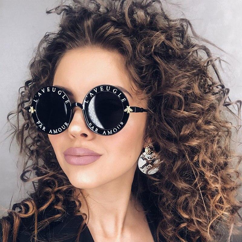 Letters Round Sunglasses Women 2019 Luxury Brand Designer Men Sunglasses Retro Black Frame Bee Eyewear For Female Oculos UV400