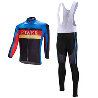 Men Team Long Sleeve Cycling Jersey Ropa Ciclismo Polyester Bike Coolmax Pant Set Wear Clothing Warm Winter