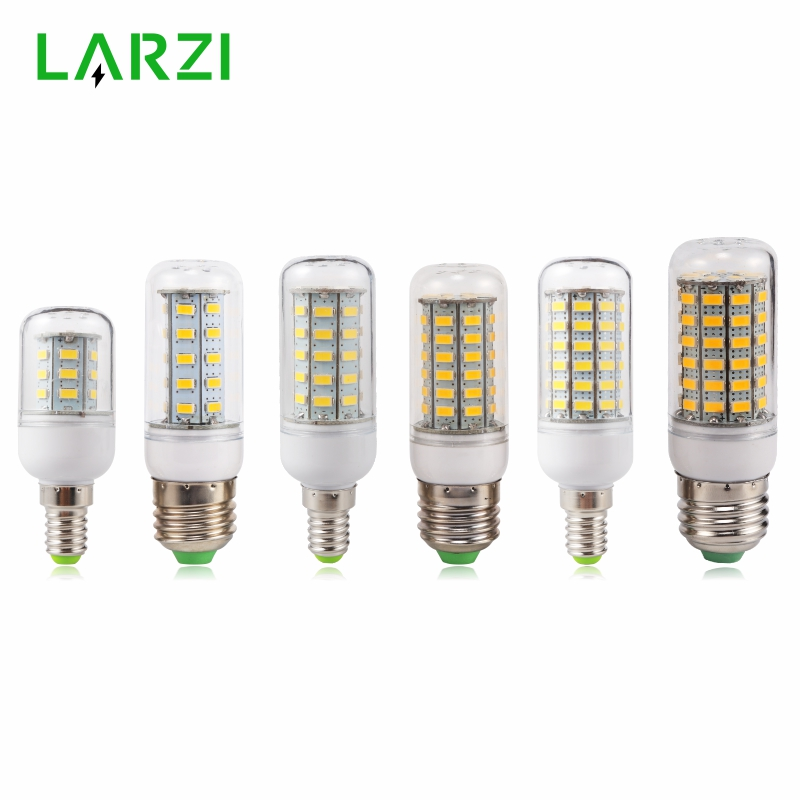 LARZI E27 LED Lamp E14 LED Bulb SMD5730 220V Corn Bulb 24 36 48 56 69 72LEDs Chandelier Candle LED Light For Home Decoration