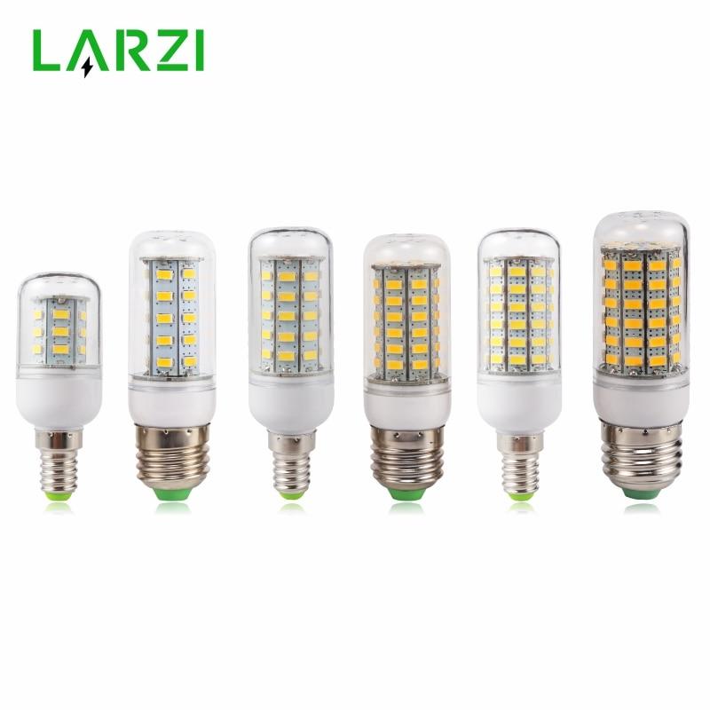 LARZI E27 LED Lamp E14 LED Bulb SMD5730 220V Corn Bulb 24 36 48 56 69 72LEDs Chandelier Candle LED Light For Home Decoration
