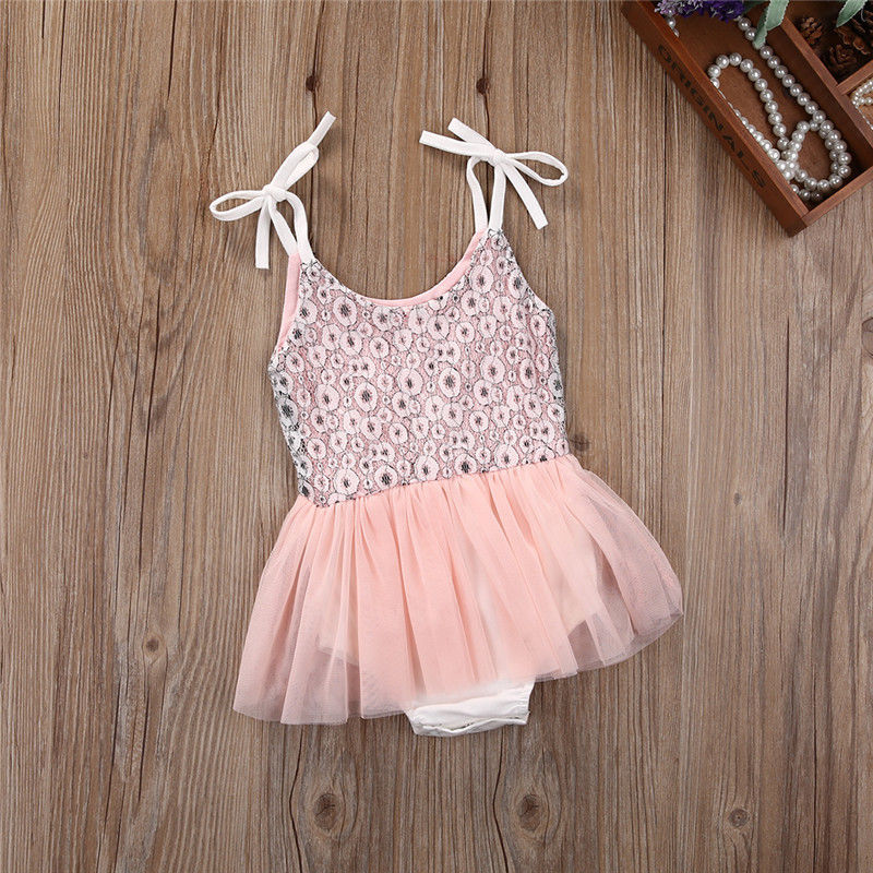 Pink Girl Kids Toddler Baby Clothing Sequins Princess Rompers Sleeveless Party Cute Ruffles Formal Tutu Baby Girls Clothes princess toddler kids baby girl clothes sets sequins tops vest tutu skirts cute ball headband 3pcs outfits set girls clothing