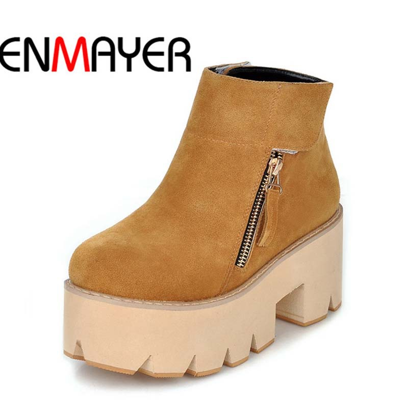ФОТО ENMAYER New Zipper Platform Ankle Boots Women Round Toe Thick Crust Shoes Woman Black Yellow High-top Nubuck Motorcycle Boots