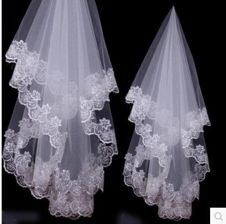 1 Layer 1.5m White Ivory Lace Bride Voile mariage Bridal Veil wedding accessories velos de novia veu de noiva com renda