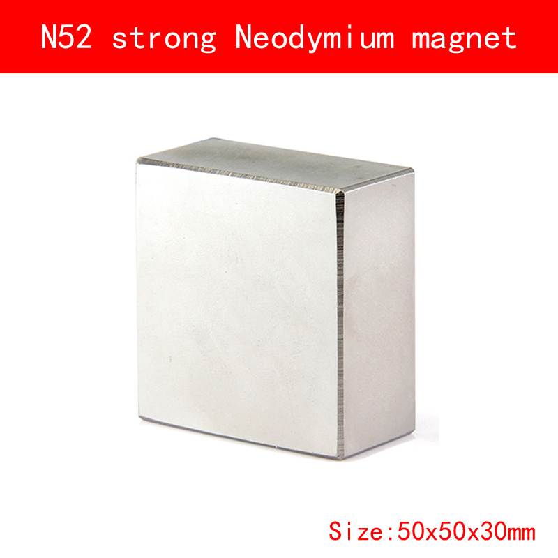 1PCS block 50x50x30mm N52 Super Powerful Strong Rare Earth Block NdFeB Magnet Neodymium N52 Magnets 1pcs block 45x45x20mm n52 super strong rare earth magnets neodymium magnet high quality