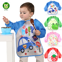 KEYING Waterproof Long Sleeve Feeding Baby Bibs Cartoon EVA Infants Smock Apron Baberos Bavoir Clothing for 0-3 Years Old Baby