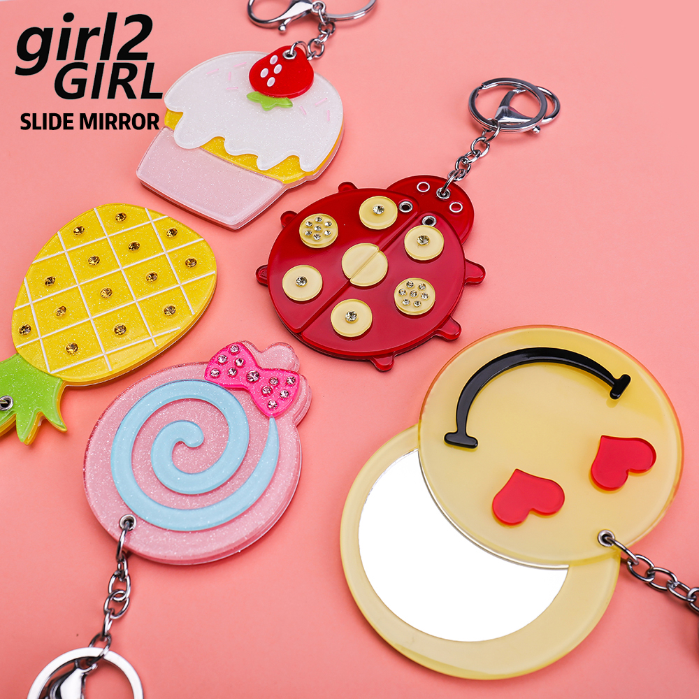 GIRL2GIRL <font><b>MIRROR</b></font> FOR BAG WITH KEYCHAIN SLIDE COSMETIC <font><b>MIRROR</b></font> FOR MAKE UP EASY TO USE