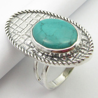 Silver Turquoises Ring Size 8.25 Gems Jewelry Unique Designed