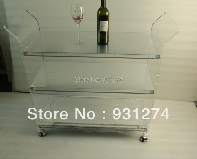 ONE LUX Mirrored acrylic modern hand carts Platform folding hand trolleys Four-wheel hotel trolleys