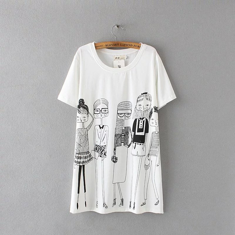 4bf39b1e88a Plus Size T-shirt Women Summer Tops Fashion Cartoon Character Print Loose  Cotton T Shirt Female White Tshirt Blusa Maxi Shirts