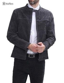 Hoffen chaquetas de cuero genuino para hombre de alta calidad, diseño de cremallera con cuello levantado, chaqueta 100% de cuero para hombre para motocicleta, abrigos Casuales